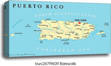 image regarding Printable Map of Puerto Rico referred to as Puerto Rico Political Map canvas print