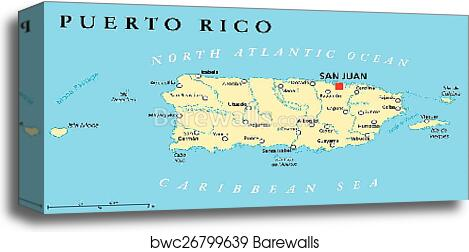 Puerto Rico Political Map canvas print