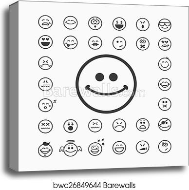 Canvas Print Of Smiley Faces Icons Barewalls Posters Prints