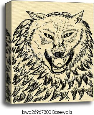 Abstract Wolf Sketch Canvas Print