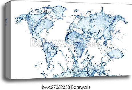 Canvas print of blue water splash world map isolated barewalls canvas print of blue water splash world map isolated gumiabroncs Images