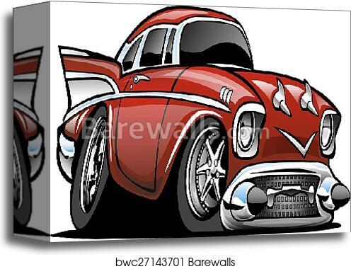 Canvas Print Of Classic American Hot Rod Cartoon Il Barewalls