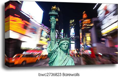 Poster New York NY Times Square Statue of Liberty Night Art Print  217