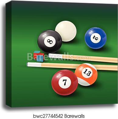 Pool Table Background Illustration With Billiard Balls And Billiard Chalk  And Cue, Canvas Print