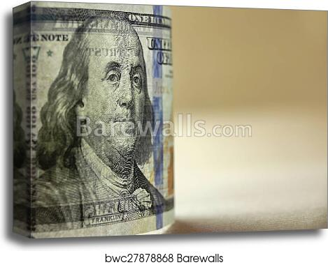Transparently New USA Hundred Dollar Bill In Back Light Close-up canvas  print