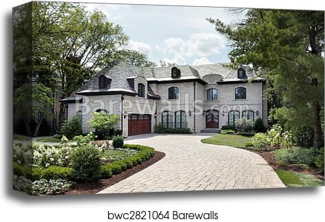 Luxury Home With Circular Driveway Canvas Print Barewalls Posters Prints Bwc2821064