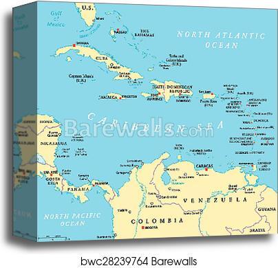 Caribbean Political Map, Canvas Print | Barewalls Posters & Prints ...
