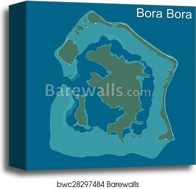 Map of Bora Bora canvas print
