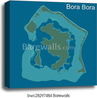 Map Of Bora Bora Canvas Print