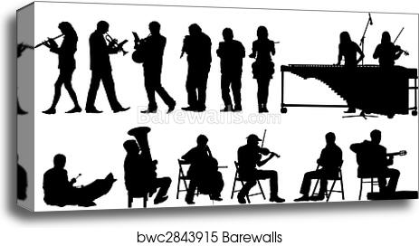 canvas print of musicians silhouettes barewalls posters prints