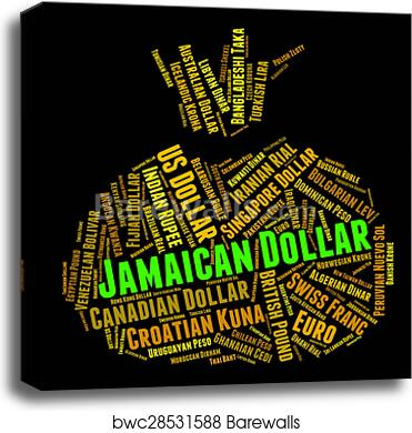 Canvas Print Of Jamaican Dollar Represents Currency Exchange And Coinage