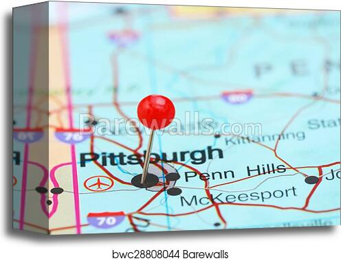 Canvas Print Of Pittsburgh Pinned On A Map Of Usa Barewalls