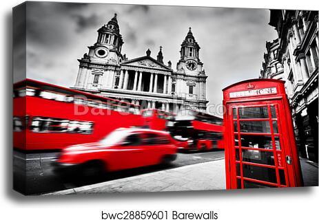 LONDON FAMOUS BLACK TAXI B/&W PHOTO PRINT ON WOOD FRAMED CANVAS WALL ART