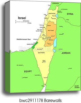 Israel with Administrative Districts and Surrounding Countries canvas print
