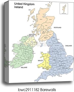 Map Of England And Ireland And Scotland And Wales.England Ireland Scotland And Wales Canvas Print Barewalls