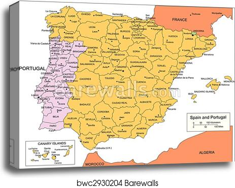 Spain and Portugal with Administrative Districts and Surrounding Countries  canvas print