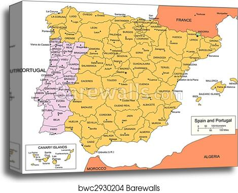 Map Of Spain And Surrounding Countries.Spain And Portugal With Administrative Districts And Surrounding Countries Canvas Print