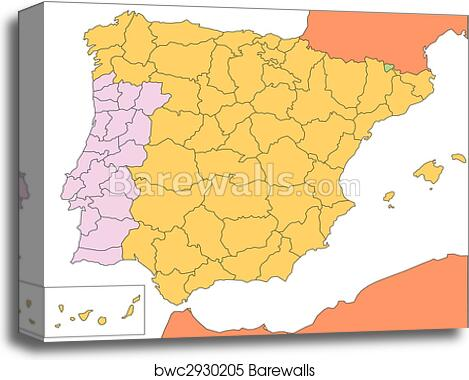 Canvas Print of Spain and Portugal with Administrative Districts and ...