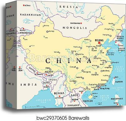 China Political Map, Canvas Print | Barewalls Posters & Prints ... on