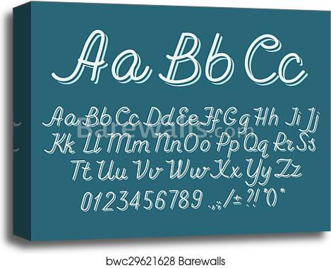 Hand drawin alphabet handwritting abc vector font  Italic type letters,  numbers and punctuation marks  canvas print