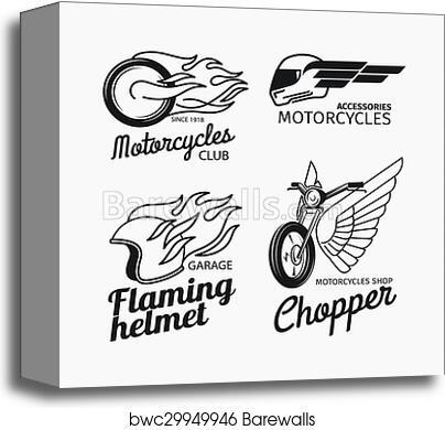 Motorcycle Race Logo Set Canvas Print Barewalls Posters Prints