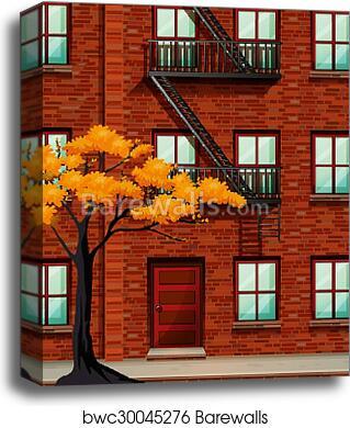 Fire Escape Of Apartment Building Canvas Print