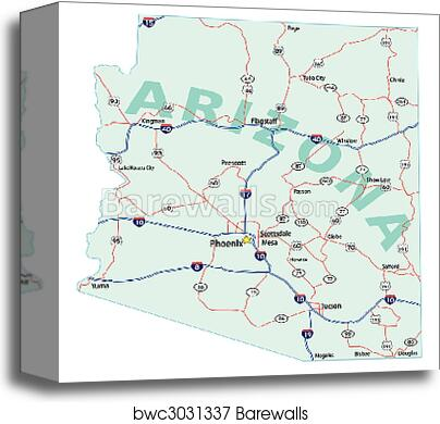 Arizona State Interstate Map canvas print