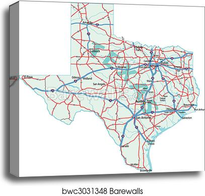 Road Map Of Texas State.Texas State Road Map Canvas Print Barewalls Posters Prints