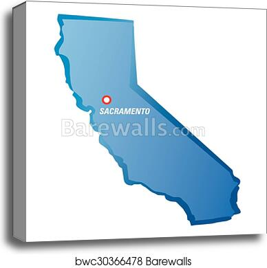 Drawing Map Of California And Sacramento Canvas Print Barewalls