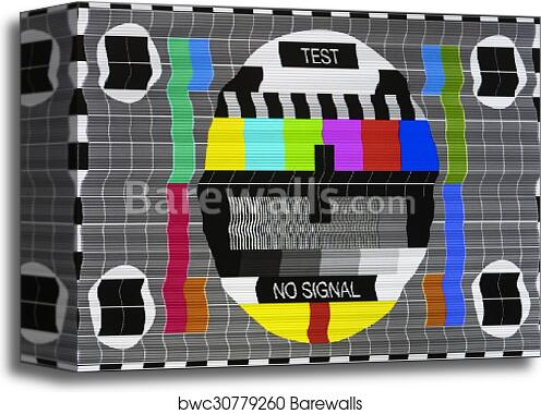 Canvas Print Of No Signal Test Tv Screen Card Old Tv Barewalls Delectable Old Tv Test Pattern