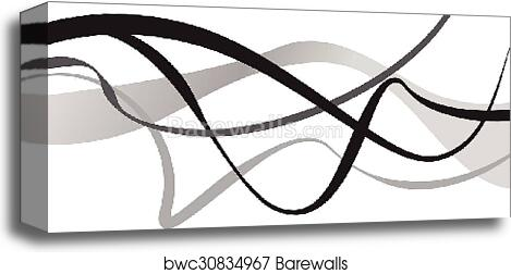 Abstract Art Vector Abstract Background With Curvy Curved Lines Shapes Canvas Print