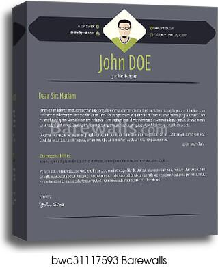 Canvas Print Of Cool Dark Cover Letter Resume Cv Template