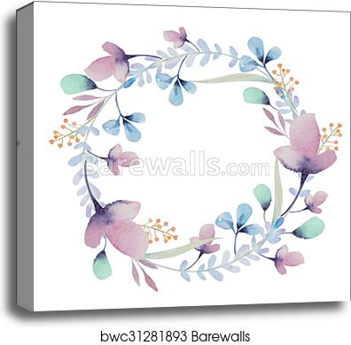 canvas print of watercolor floral frame flowers in wreath