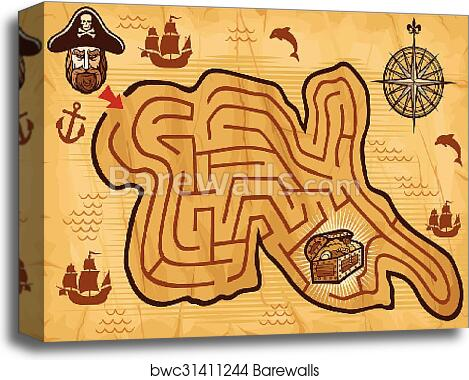 Pirate Maze For Kids With Map Canvas Print Barewalls Posters