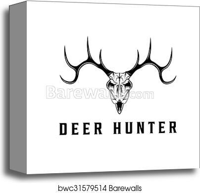 Deer Skull Vector Design Template Canvas Print