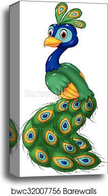 cute peacock cartoon isolated canvas print barewalls posters prints bwc32007756 cute peacock cartoon isolated canvas print