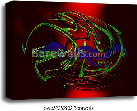 Abstract background line, color graffiti and glass effect canvas print