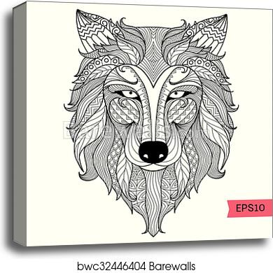 Wolf coloring page canvas print
