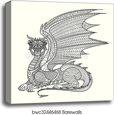 Dragon Coloring Page, Canvas Print Barewalls Posters & Prints  Bwc32446468