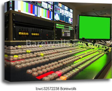 Broadcast Tv Studio Production - Vision Switcher, Broadcast video mixer  canvas print