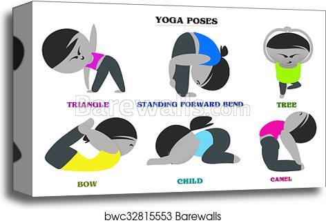 Yoga Poses And Names Cartoon Background Canvas Print Barewalls Posters Prints Bwc32815553