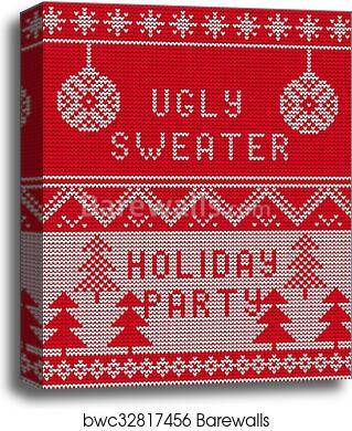 Christmas Sweater Background.Ugly Sweater Background 1 Canvas Print