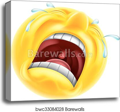 Really Sad Upset Emoticon Canvas Print Barewalls Posters Prints