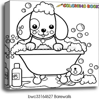 Dog in a tub taking a bath. Vector black and white coloring page canvas  print