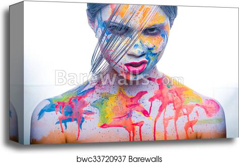 Woman With Painted Face Body Art Canvas Print Barewalls Posters Prints Bwc33720937