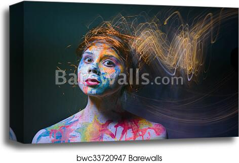 Woman With Painted Face Body Art Canvas Print Barewalls Posters Prints Bwc33720947