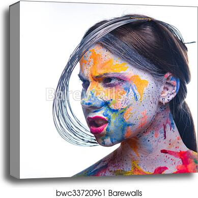Woman With Painted Face Body Art Canvas Print Barewalls Posters Prints Bwc33720961