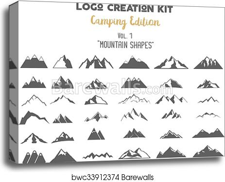 Logo creation kit bundle  Camping Edition set  Mountain vector shapes and  elements Create your own outdoor label, wilderness retro patch, adventure