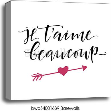 French I love you lettering poster  canvas print