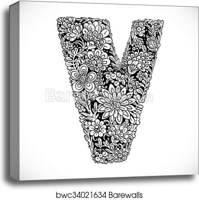Doodles font from ornamental flowers - letter V  Black and white canvas  print